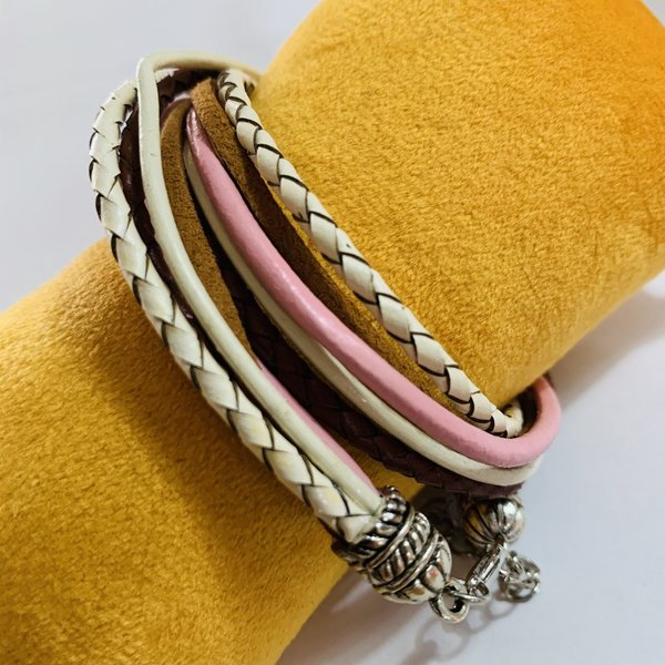 Tolles Armband in rosa/braun/weiss